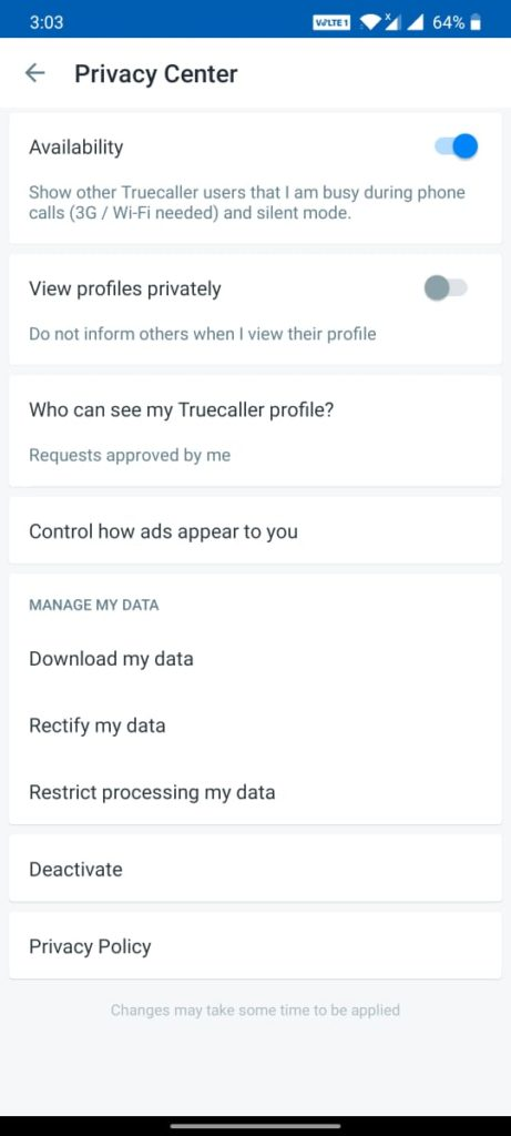 Tap on Privacy Center
